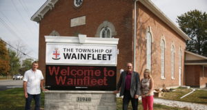 New Digital Signage in Wainfleet-Pictured are, from left to right: Alderman Richard Dykstra, Manager of Operations, Richard Nan and Mayor April Jeffs