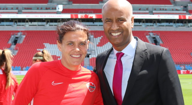 Christine Sinclair and Ahmed Hussen - Photo- mosaicedition.ca-ea