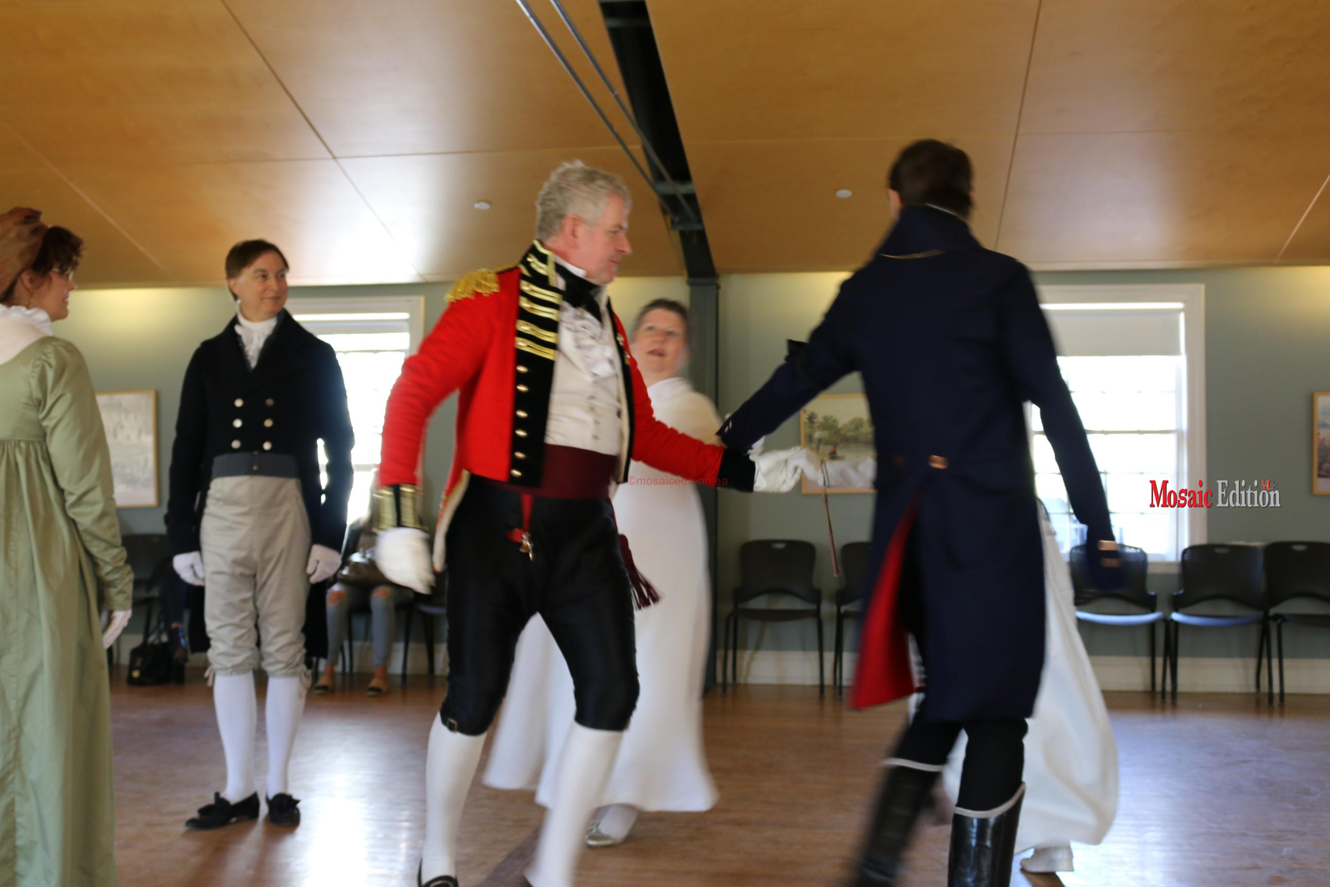 Regency Dancers - All the officers and ladies would have learned how to dance because at that period that would be a hallmark of being a gentleman and a lady.  mosaicedition/ea