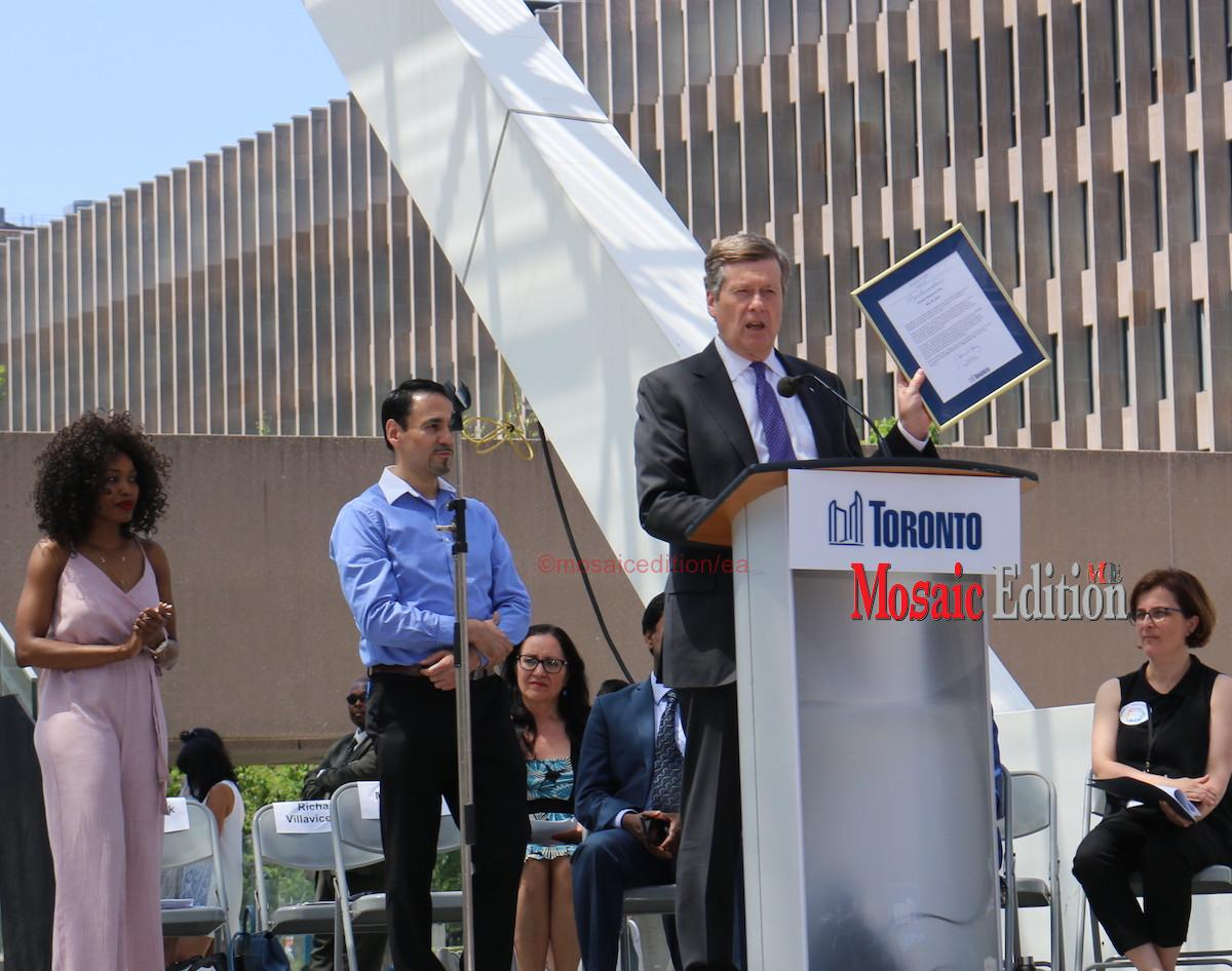 John Tory, Mayor of Toronto proclaims May 29, 2018 Toronto Newcomer Day - mosaicedition.ca-ea
